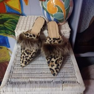 Leopard flats with real fox accents
